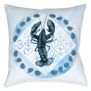 "The ""Moroccan Marina Lobster"" outdoor pillow features a indigo, blue tonal mixed print combining beautiful Moroccan inspired mosaics with a coastal lobster motif."