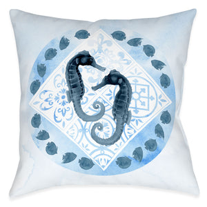 Moroccan Marina Seahorse Outdoor Decorative Pillow