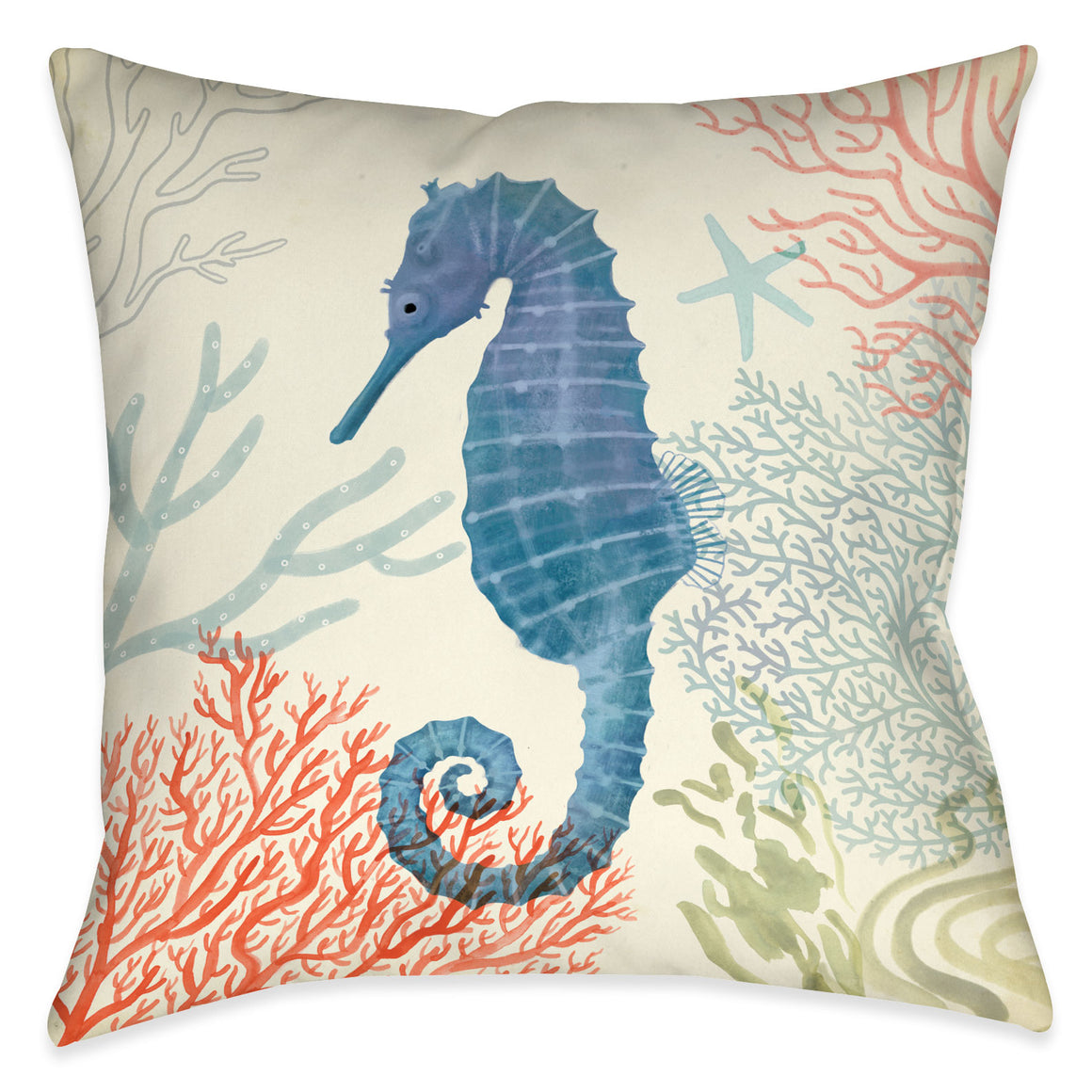 Ocean Whimsy Seahorse Indoor Decorative Pillow