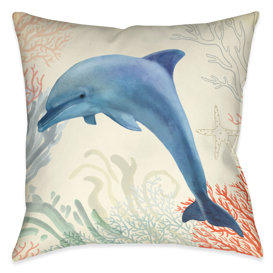 Ocean Whimsy Dolphin Outdoor Decorative Pillow