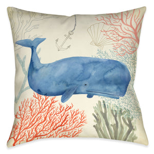 Ocean Whimsy Whale Outdoor Decorative Pillow