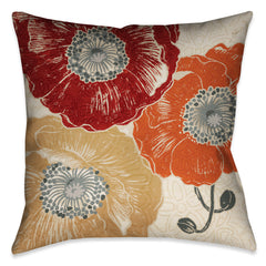floral poppy pillow