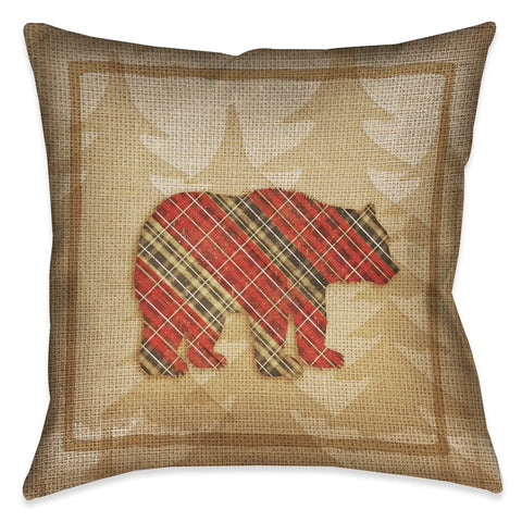 Country Cabin Bear Plaid Outdoor Decorative Pillow