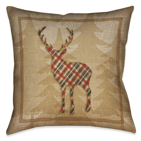 Country Cabin Deer Plaid Outdoor Decorative Pillow