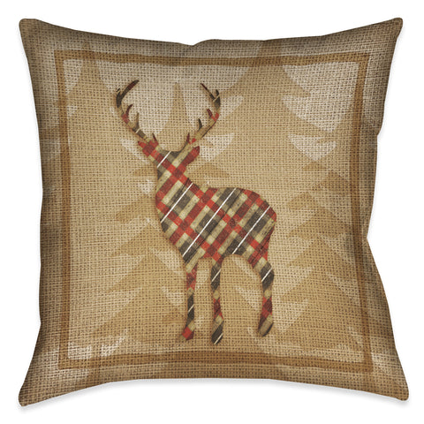 Country Cabin Deer Plaid Indoor Decorative Pillow