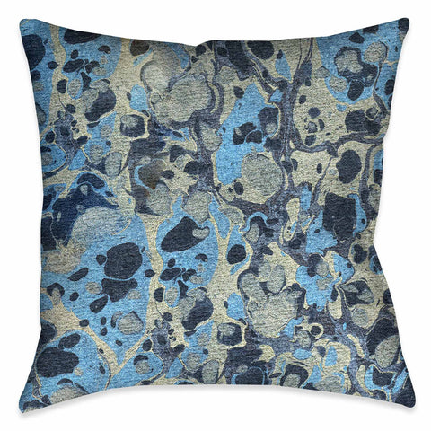 Silver Blue Marble Decorative Pillow