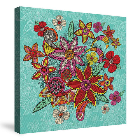 Boho Floral Turquoise Canvas Wall Art
