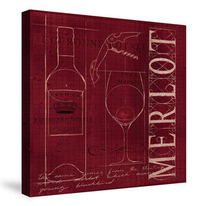 Wine Blueprint Merlot Canvas Wall Art
