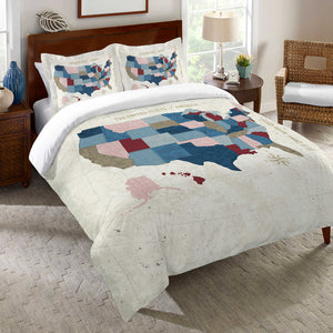 Modern Vintage Map Duvet Cover