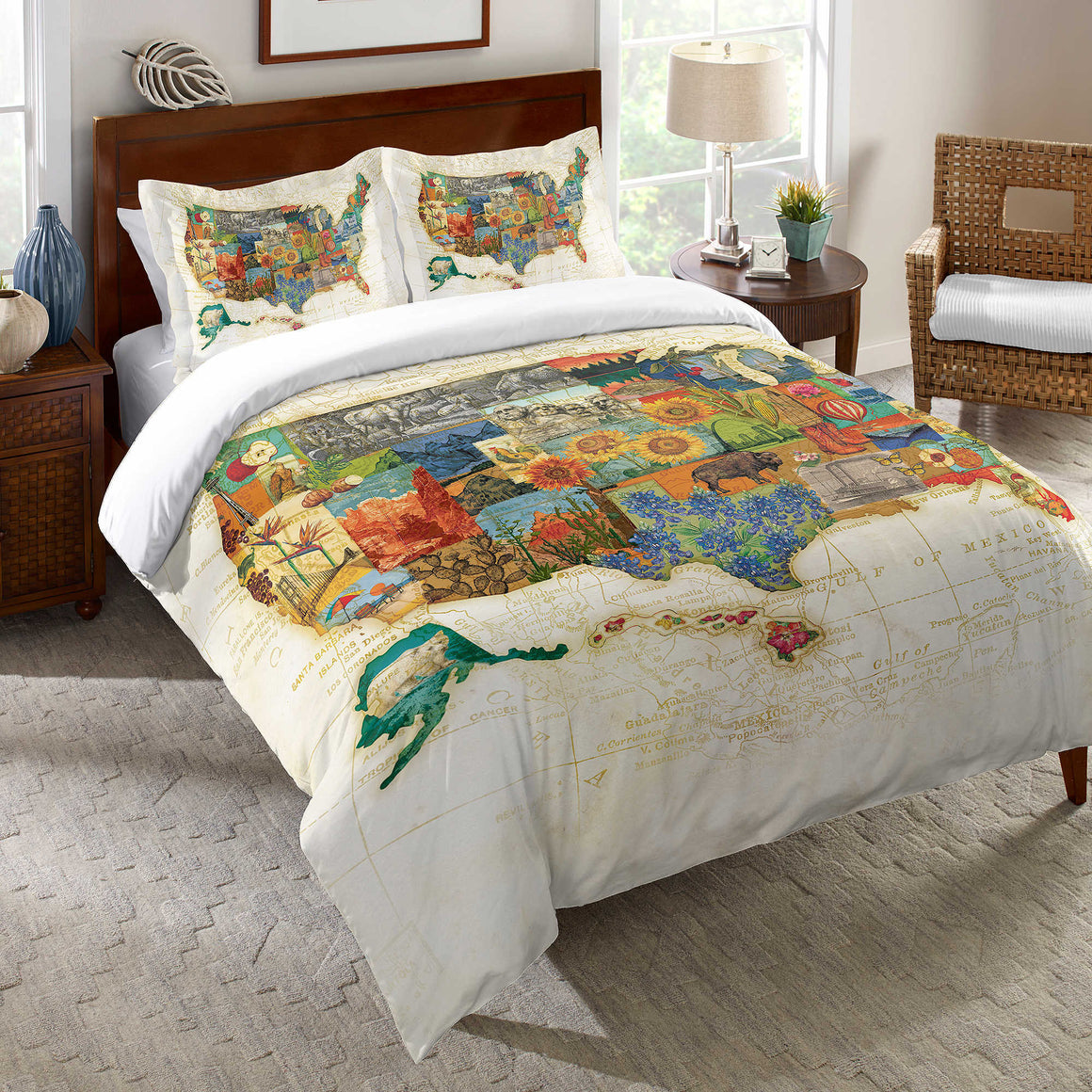 Vintage Travel Map Duvet Cover