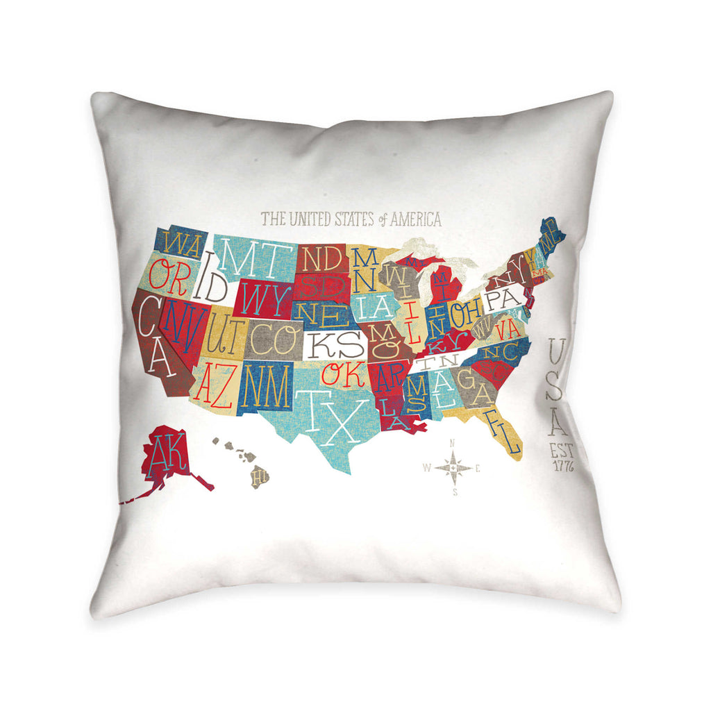 US Colorful Map Indoor Decorative Pillow