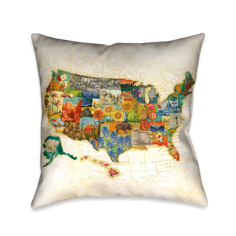 Vintage Travel Map Indoor Decorative Pillow