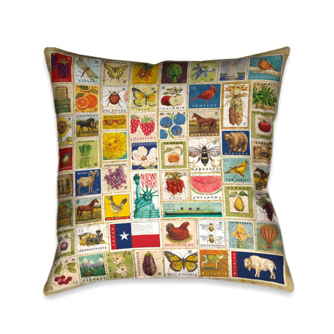 Vintage Stamps Indoor Decorative Pillow