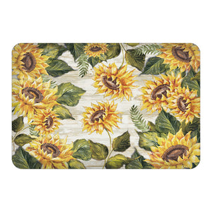 Sunflowers On Shiplap Floor Mat