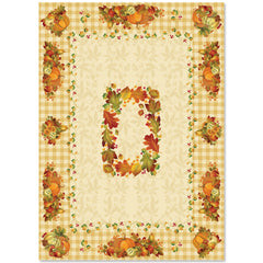Happy Harvest Tablecloth is filled with gourds, pumpkins, leaves, and a warm gingham pattern, boasting both rustic and autumnal themes.