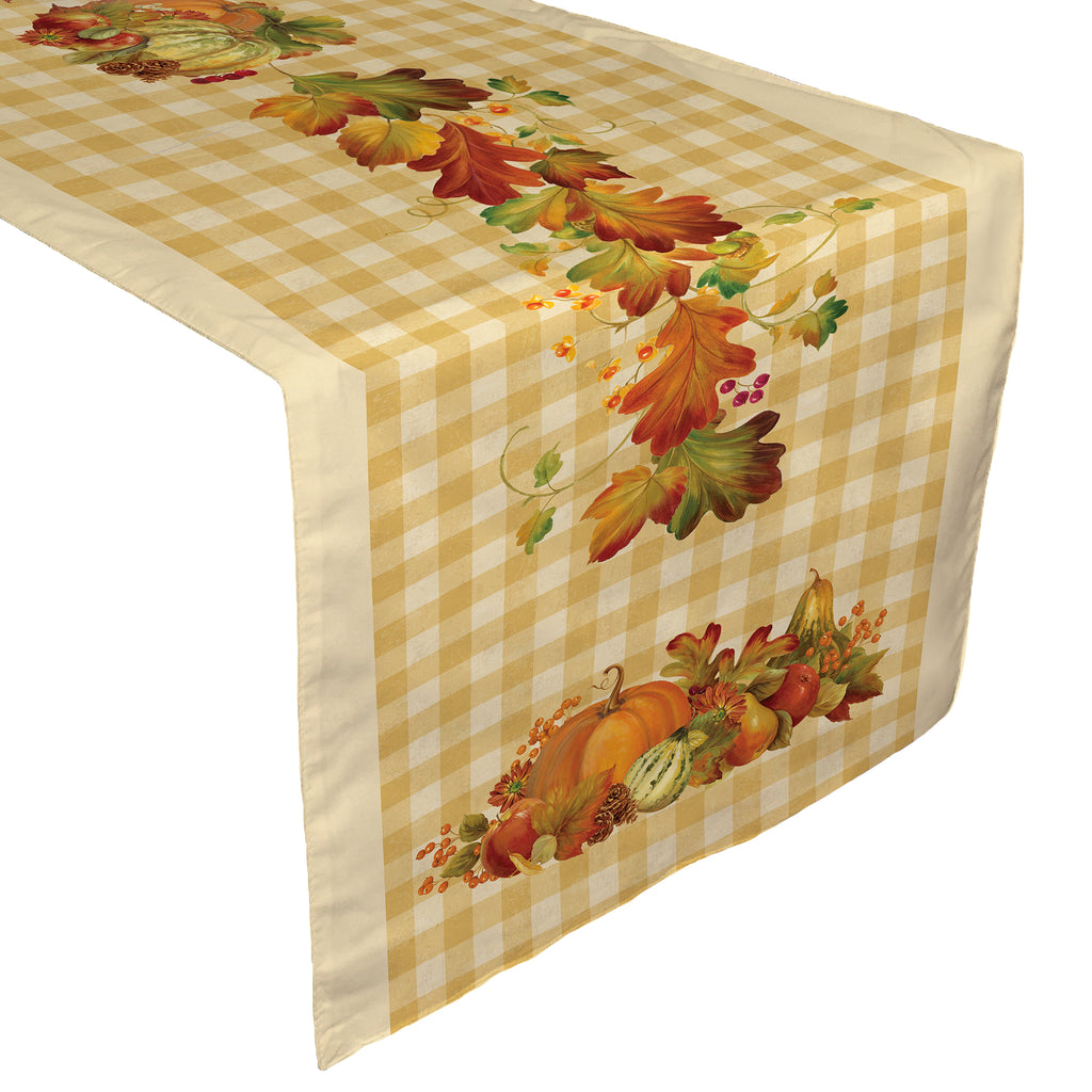 Happy Harvest Table Runner Features A Playful, Plaid Backdrop To Autumnal  Leaves And Harvest Vegetables
