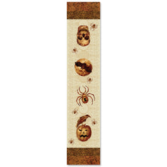 Spooky Halloween Table Runner uses a simple orange color palette to highlight classic symbols of Halloween such as jack o'lanterns, crows, skulls, and spiders.