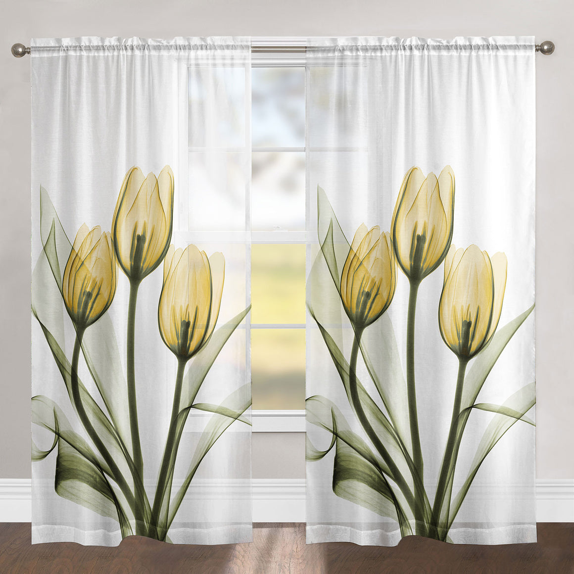 Golden Tulips Sheer Window Panel