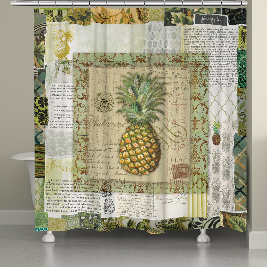 Pineapple Scrapbook Shower Curtain – Laural Home