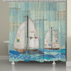 At the Regatta Shower Curtain, At the Regatta by Courtney Prahl