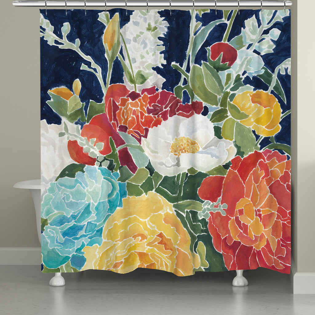 Ordinaire Midnight Floral Shower Curtain