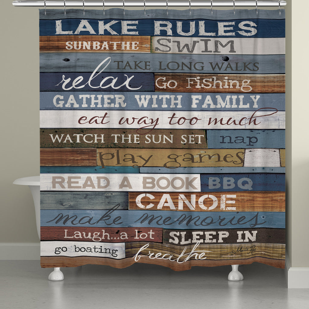 Lake Rules Shower Curtain