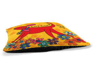 "Happy Dog 30"" x 40"" Fleece Dog Bed features a fun drawing of a dog walking on flowers and is set in vibrant colors."