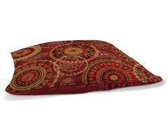 "Majestic 30"" x 40"" Fleece Dog Bed features a deep red, jewel tone pattern of intricate circles."