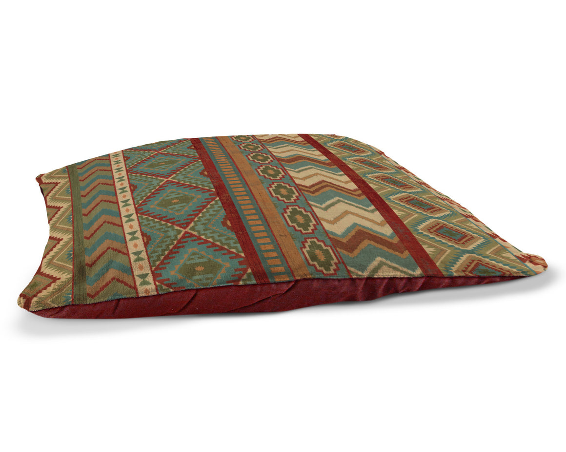 "Country Mood Sage 30"" x 40"" Fleece Dog Bed features a bold geometric pattern using warm blues, reds, and yellows."