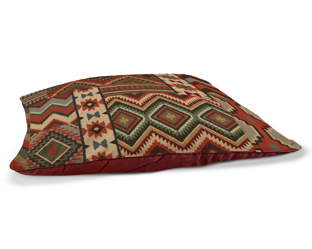 "Country Mood Navajo 30"" x 40"" Fleece Dog Bed features a bold, geometric pattern inspired by traditional Navajo prints set in rich reds and greens."