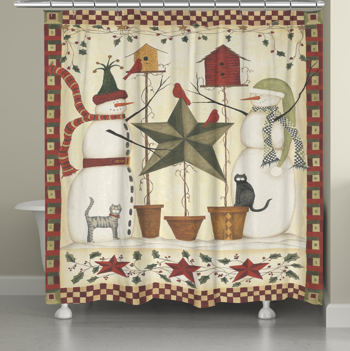 Country Snowmen Shower Curtain