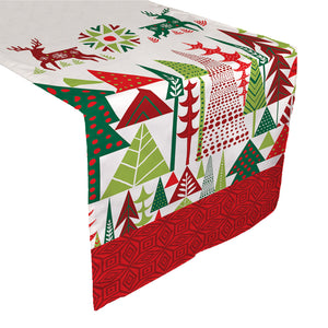 Geometric Christmas Table Runner featuring geometric Christmas trees and reindeer patterns.