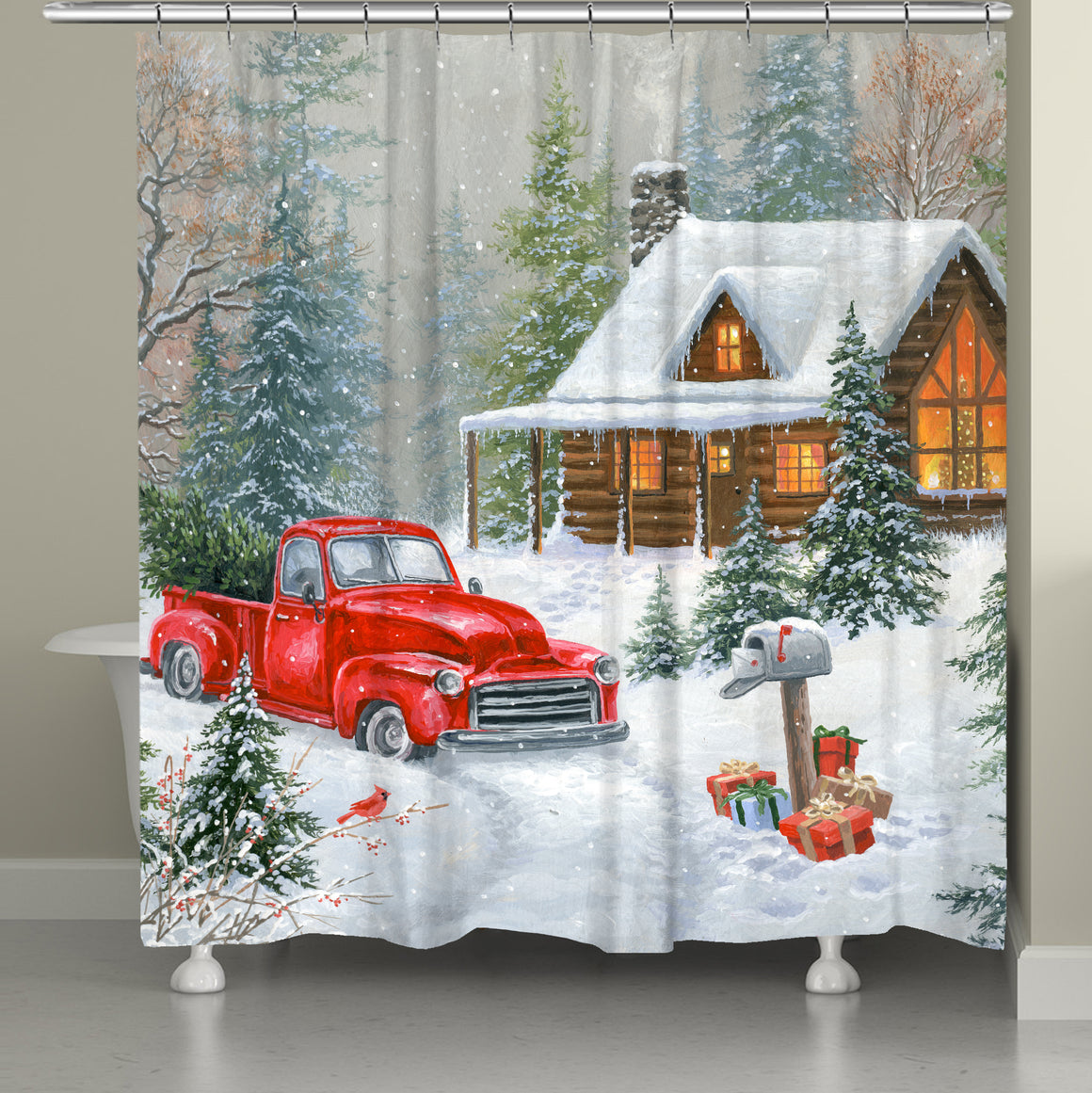 A Cabin Christmas Shower Curtain