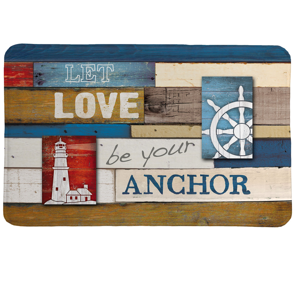 Nautical Anchor Inspiration Memory Foam Rug uses a salvaged wood design to offset the perfect love mantra.