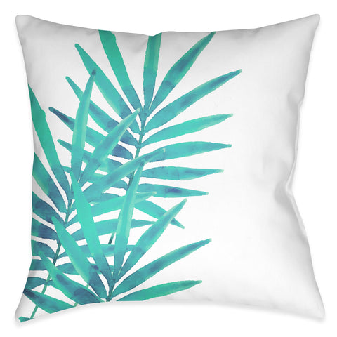 Aqua Palm Leaves I Outdoor Decorative Pillow
