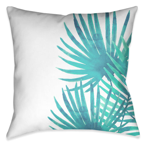 Aqua Palm Leaves II Outdoor Decorative Pillow