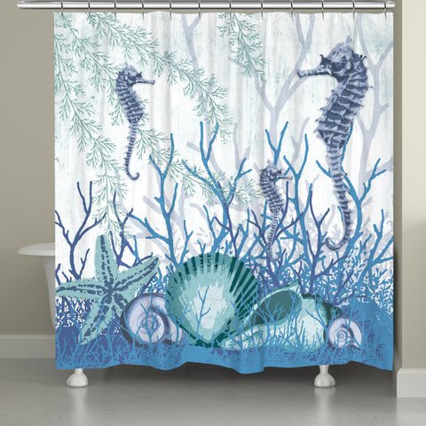 Aquatic Seahorses and Sea Shells Shower Curtain