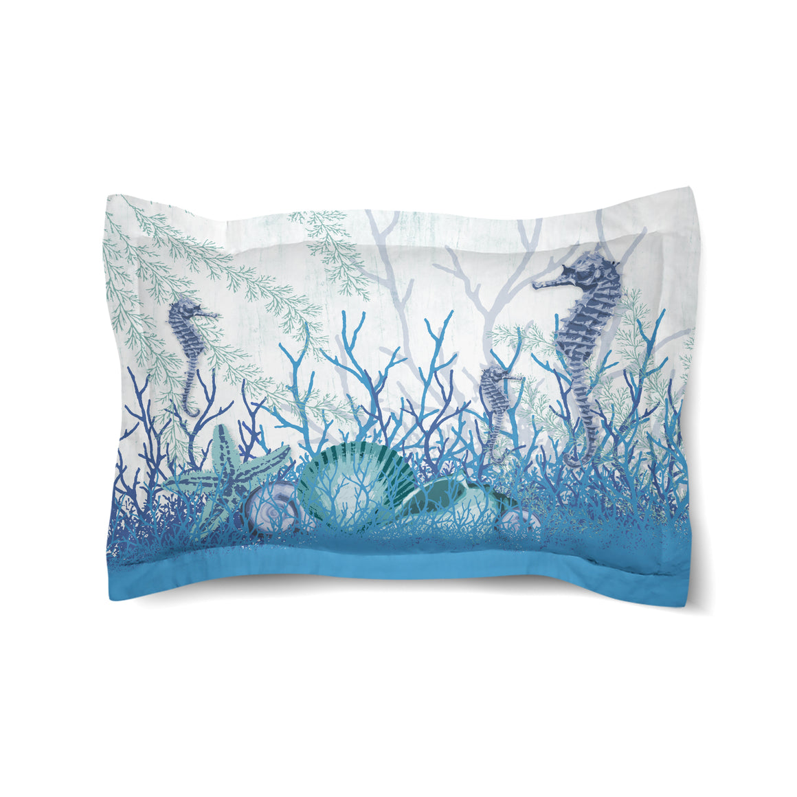 Aquatic Seahorses and Sea Shells Duvet Sham