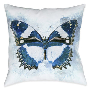 Artful Butterfly Blues Outdoor Decorative Pillow