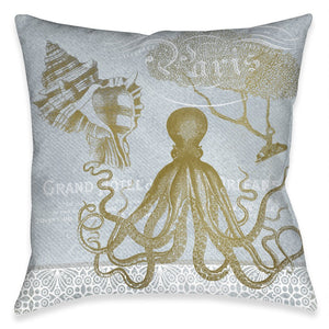 Azure Coastal Octopus Indoor Decorative Pillow