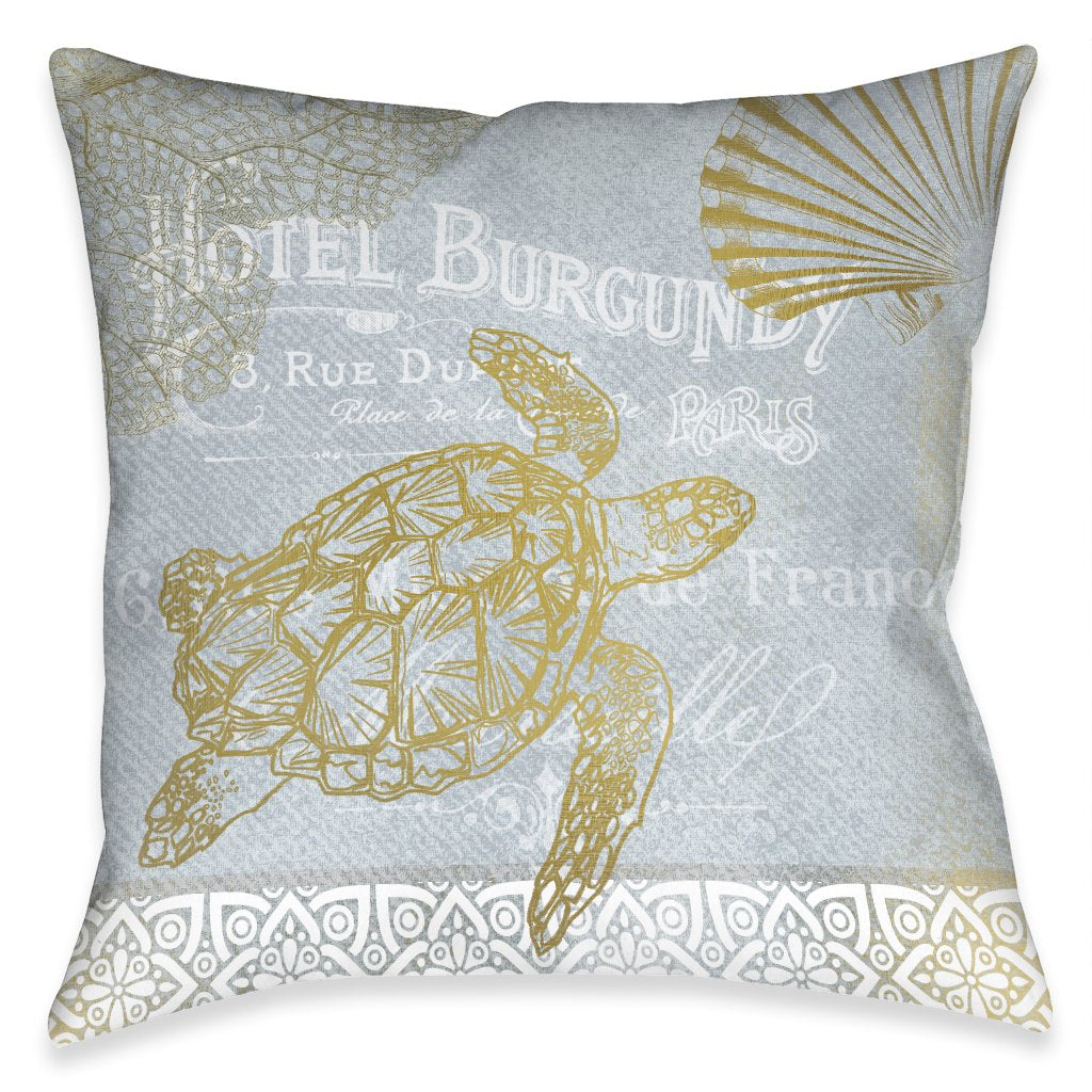 Azure Coastal Turtle Outdoor Decorative Pillow