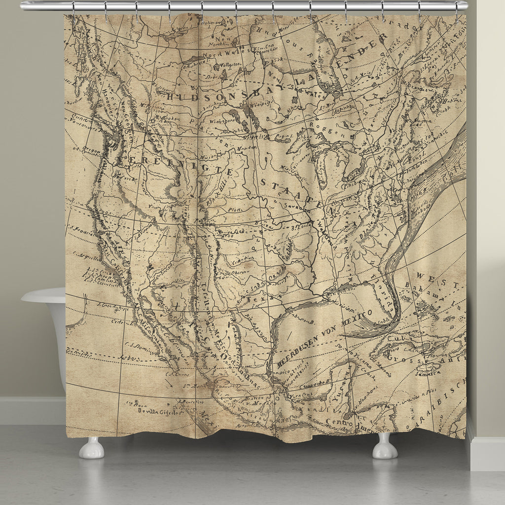 Outlined Map Shower Curtain