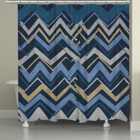 Navy Stripe I Shower Curtain