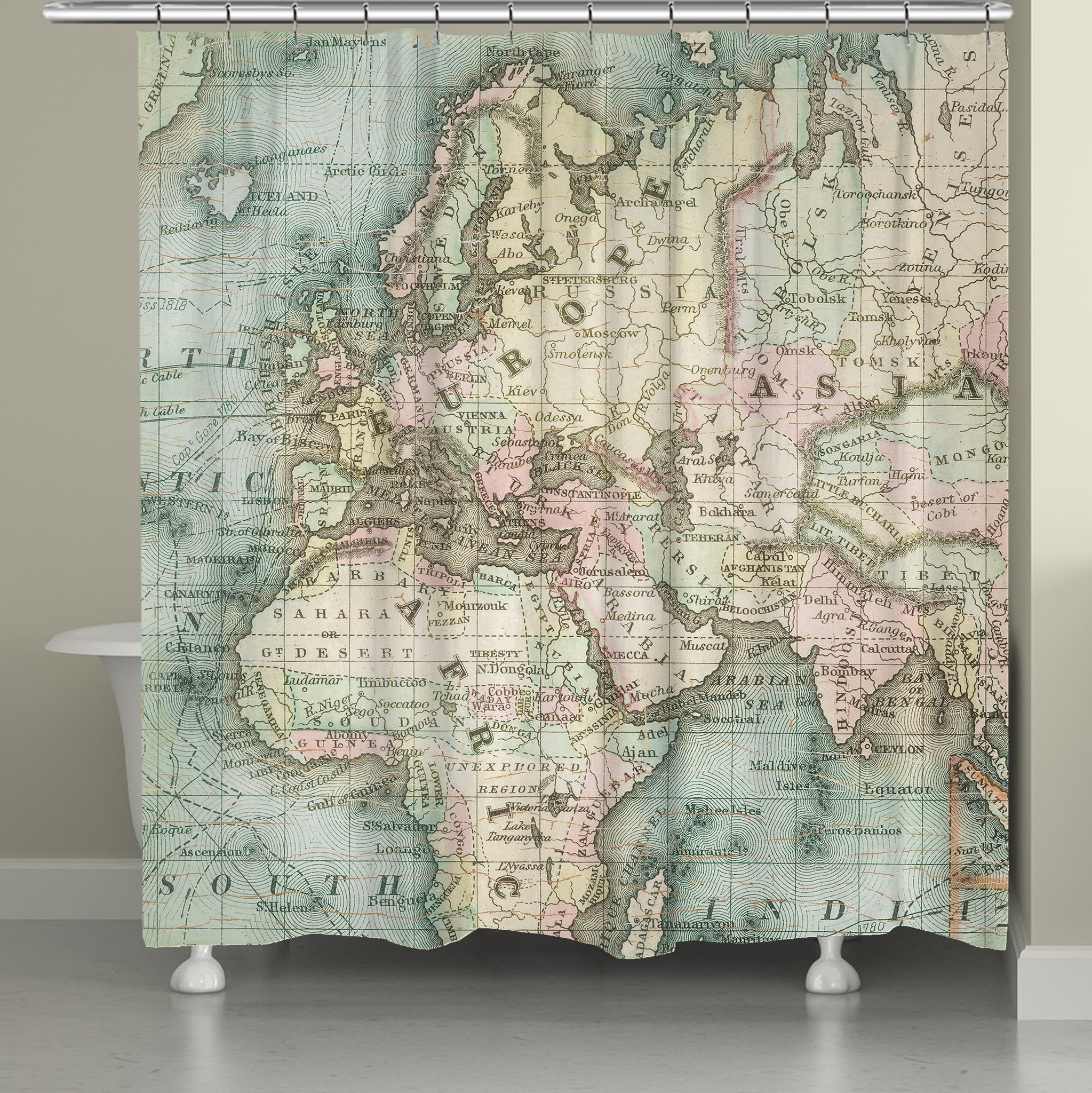 World Map Shower Curtain Laural Home