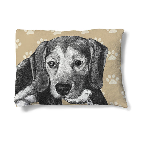 "Beagle Sketch 30"" x 40"" Fleece Dog Bed"