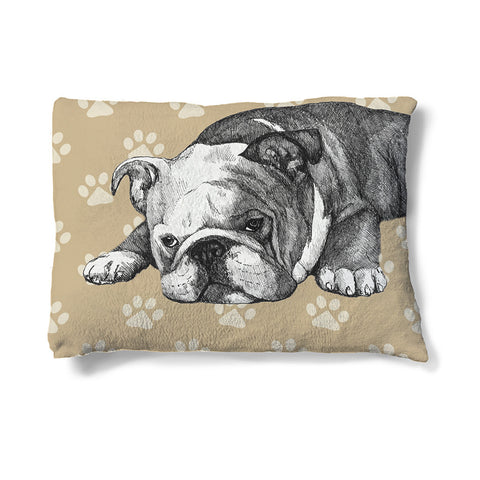 "Bulldog Sketch 30"" x 40"" Fleece Dog Bed"