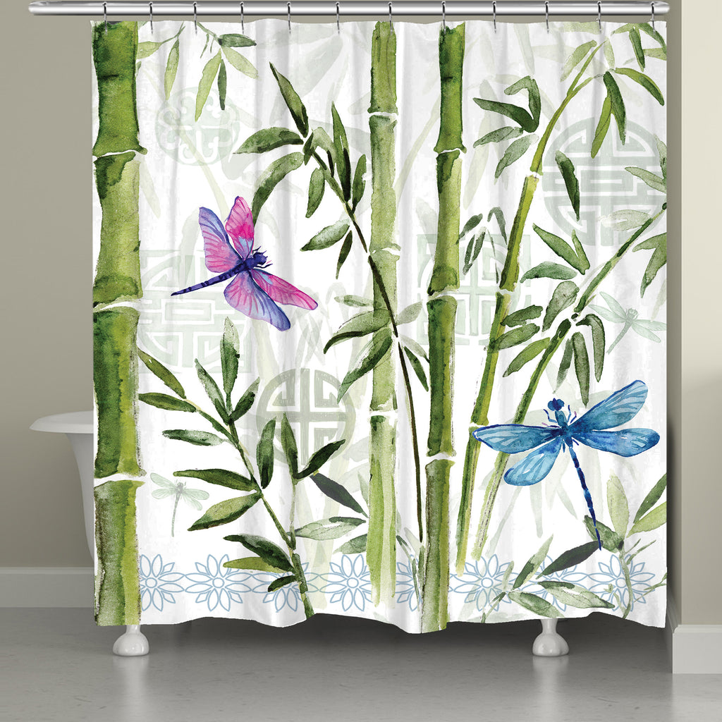 Bamboo Dragonflies Shower Curtain Laural Home