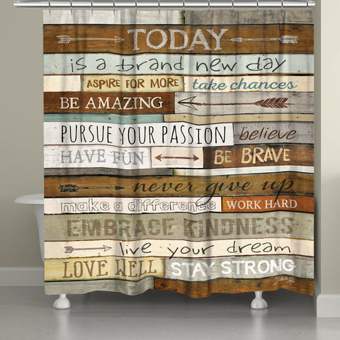 Inspiring Mantra Shower Curtain