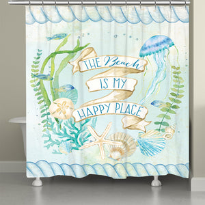 Beach Is My Happy Place Shower Curtain