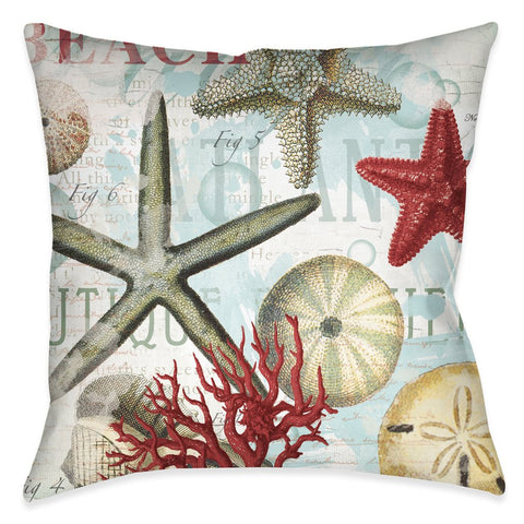 Beach Shells Outdoor Decorative Pillow